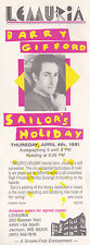 BARRY GIFFORD SAILOR'S HOLIDAY BOOK SIGNING PROMOTIONAL BOOKMARK JACKSON MS 1991