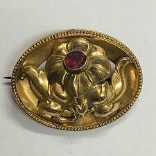 belle broche plaqué or avec rubis ? époque art nouveau des années 1900 poinçon