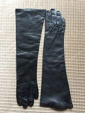 "Long Silk Lined Black Leather 15"" Gloves Sz. 6.5"