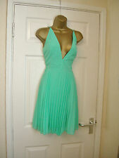 16 ASOS MINI DRESS BRIGHT GREEN PLUNGE FRONT BACKLESS PLEAT WEDDING XMAS PARTY