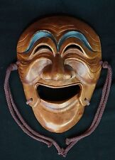 Japanese wood mask hand carved 1900's Men art Japan folklore