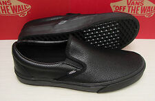 Vans Classic Slip On Perf Leather Black/Black Men's Size 10.5