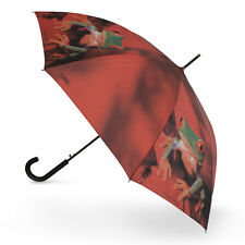 Doppler Art Collection Hook Handle Auto Walking Umbrella - Red Tree Frog