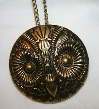 FUN! Sculpted Brasstone Etched Hoot Owl Pendant Necklace Brooch Pin