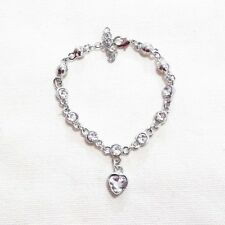 WHITE GOLD PLATED MADE WITH SWAROVSKI CRYSTALS TENNIS BRACELET DANGLE HEART