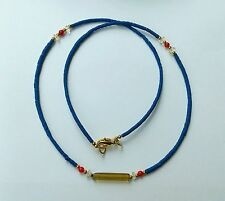 Afghan Natural Lapis Lazuli, Crystal, Roman Glass Pendant & Coral Beads Necklace