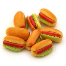 4 Dolls House Miniature Hot Dog And Lettuce In A Bun with Ketchups