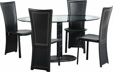 CAMEO OVAL GLASS SEATER DINING SET + FOUR BLACK CHAIRS-FREE NEXTDAY DELIVERY