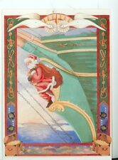 CHRISTMAS  SANTA FIGUREHEAD CARVING ON CLIPPER SHIP E. RUSH ON POSTCARD (X-138)