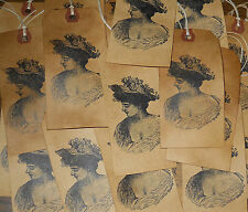 25 LARGE ~ ROMANTIC VICTORIAN WOMAN * PRIMITIVE GIFT HANG TAGS
