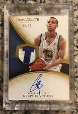 2013-2014 Panini Immaculate Stephen Curry #49/75; AUTO & Event Worn Swatch!