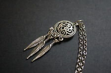 silver tone dream catcher feather necklace kitsch emo