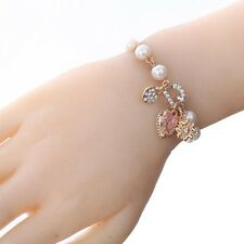 Women 18K Gold Plated Crystal Pearl Heart Bangle Bracelet Lovers On Sale