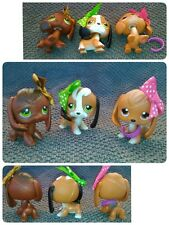Littlest Pet Shop LOT 3 BEAGLE DOGS #16 Caramel #77 Chocolate #113 Freckles Bow