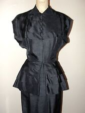 VINTAGE 40'S LOVELY!! HANDMADE BLUE BLACK TIERED PEPLUM SILK DRESS* M
