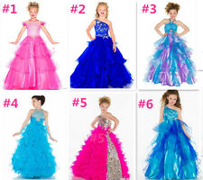Girl Pageant Bridesmaid Prom Party Princess Ball Gown Formal Dresses Custom Size