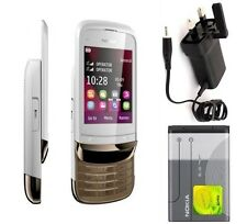 New Condition Nokia C2-03 Golden White Dual Sim Unlocked Slide Touch &Type Phone