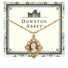 Downton Abbey Gold Tone Cameo Crystal Accent Pendant Necklace 17714 Free Shippin