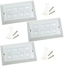3x Quad CAT6 Data Wall Outlet Face Plate - 4 Port RJ45 Ethernet Network Socket