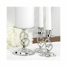 Sparkling Heart Wedding Unity Candle Stands Set of 3 Candle Holders
