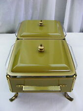 Vintage 1960s Green Enamel Server Buffet Chaffing Dish Double Casserole