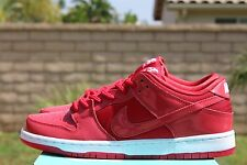 NIKE DUNK LOW PRO SB SZ 9 VARSITY RED WHITE PATENT LEATHER 304292 616