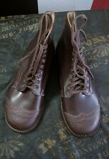 New Kid's Vintage Brown Lace-up Wingtip Boot Shoe/Oxford boys 1.5 E
