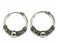 New Ladies Sterling Silver Bead Bali Creole Hoop Earrings 22mm 925