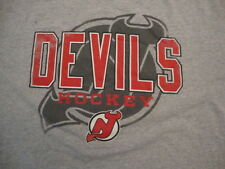 NHL New Jersey Devils National Hockey League Fan Distressed Gray T Shirt Size XL