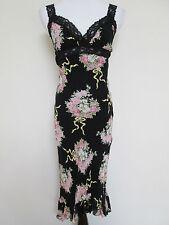 Betsey Johnson Vintage Black Pink Czech Rose Bouquet Lace Trim Midi Dress Sz S