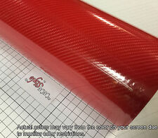 6D RED Gloss Shining 1520mm x1000mm Carbon Fibre Vinyl Wrap Sticker 5D Upgraded