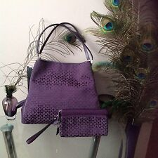 Coach Madison Op Art Needlepoint Purple Phoebe Purse & Matching Wristlet