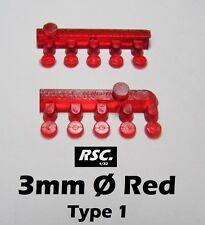 LIGHTS 3 mm RED 10 UNITS TYPE 1 - LENSES FAROS FARE RESIN SLOT KIT DETAIL SET