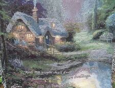 THOMAS KINKADE light painter THATCHED COTTAGE stream TAPESTRY blanket THROW