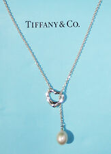 Tiffany & Co Silver Elsa Peretti Open Heart LARGE White Pearl Lariat Necklace