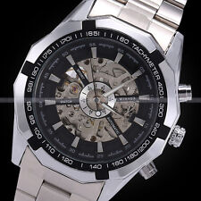New Winner Black Dial Men's Skeleton Stainless Steel Automatic Mechanical Watch
