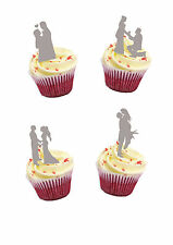 35 PRECUT ENGAGEMENT WEDDING SILVER SILHOUETTE  STAND UP EDIBLE CUPCAKE TOPPERS