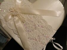 Ivory Heart shaped Guest Book  - Lillian Rose - sequins-Pearls-Lace