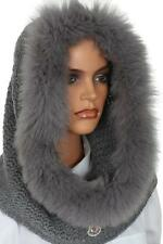 NEW MONCLER LADIES GRAY LOGO WOOL CASHMERE FOX FUR HAT COLLAR HOOD NECK WARMER