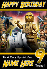 Personalised Birthday Card 1  'LEGO STAR WARS DROIDS '  ANY NAME,AGE,RELATVE!!