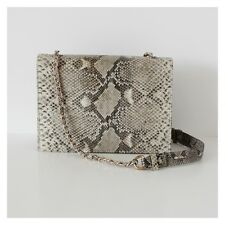 Genuine Luxury Exotic Python Leather Snakeskin Shoulder Bag, Multi Off-White