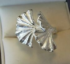 Sterling Silver Designer Hand made Ginko Fan Ring