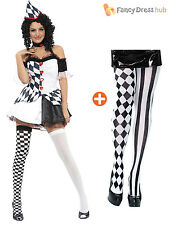 Harlequin Jester Clown Circus Costume + Hat Halloween Medieval Adult Fancy Dress