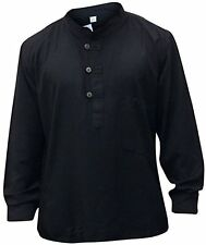 Men Hippie Linen Collarless Grandad Shirt Full Sleeve Boho Casual Tops - Black