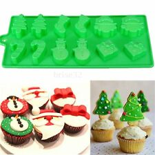 Christmas Xmas Tree Snowman Chocolate Cake Candy Baking Silicone Mold Decorating