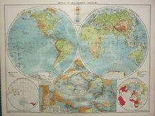 1940 MAP ~ WORLD IN HEMISPHERES ~ VOLCANOES LAND & WATER EAST INDIES JAPAN