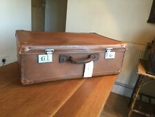 Huge Vintage Suitcase Leather/ Board/ Aluminium