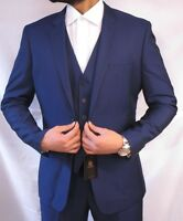Mens Designer Royal Blue Suit 3 Piece Suit Ideal For Wedding, for all Occasions