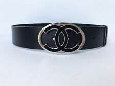 New in Box CHANEL Large CC Logo Silver Black Leather Belt 70 28