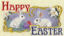 HAPPY EASTER SET OF 2 BATH HAND TOWELS EMBROIDERED BY LAURA